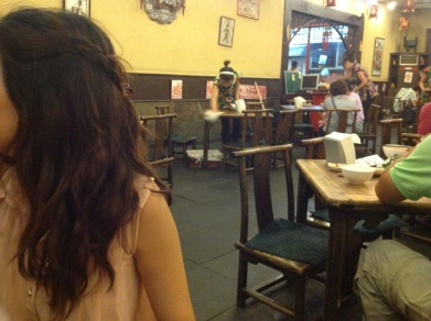 Exceptionally small tables and chairs at the Qing Tang Fu Restaurant