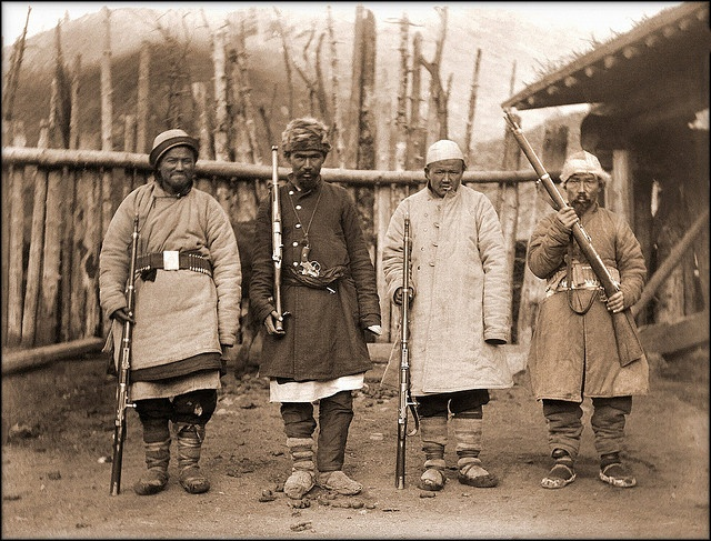 """Muslim Bandits,"" Xinjiang, China [c1915] Marc Aurel Stein [RESTORED]"